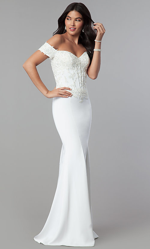 Image of long off-shoulder embroidered mermaid prom dress. Style: CD-GL-G786 Detail Image 3