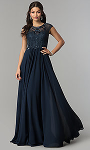 Image of formal long chiffon prom dress with beaded bodice.  Style: CD-GL-G790 Front Image