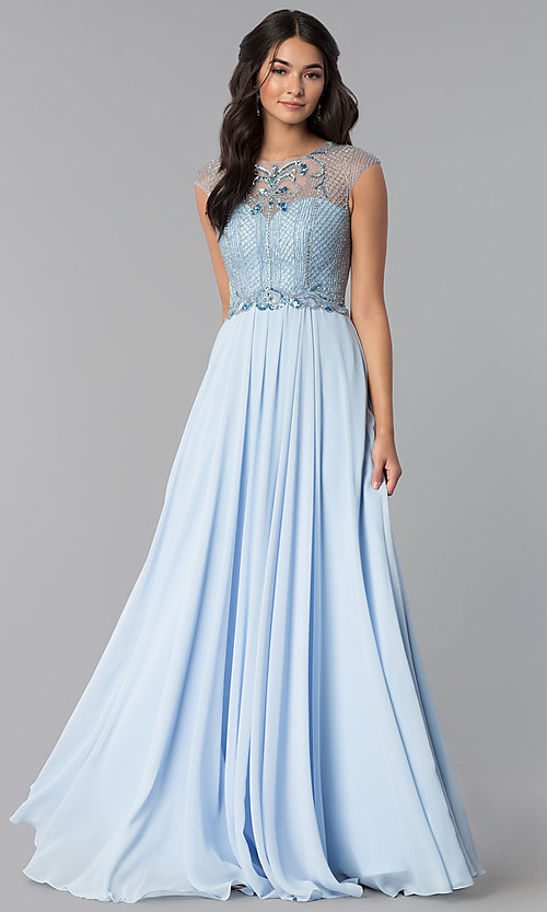 Image of formal long chiffon prom dress with beaded bodice.  Style: CD-GL-G790 Detail Image 3