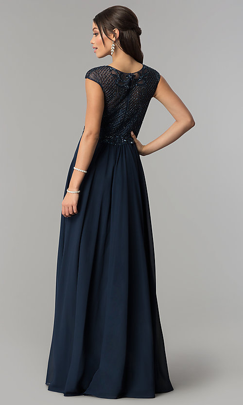 Image of formal long chiffon prom dress with beaded bodice.  Style: CD-GL-G790 Back Image