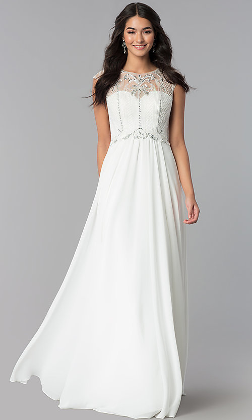 Image of formal long chiffon prom dress with beaded bodice.  Style: CD-GL-G790 Detail Image 2