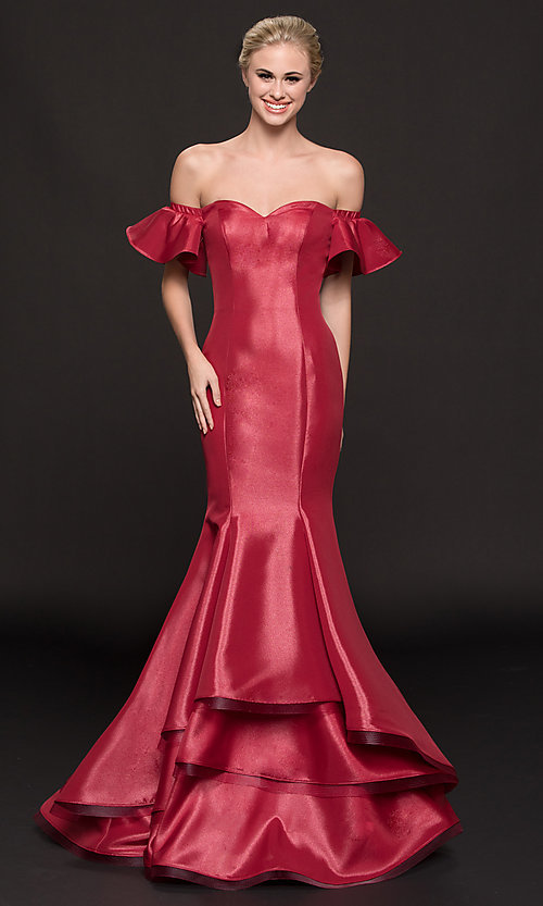 Image of off-shoulder corset long mermaid military ball dress. Style: CD-GL-G793 Front Image