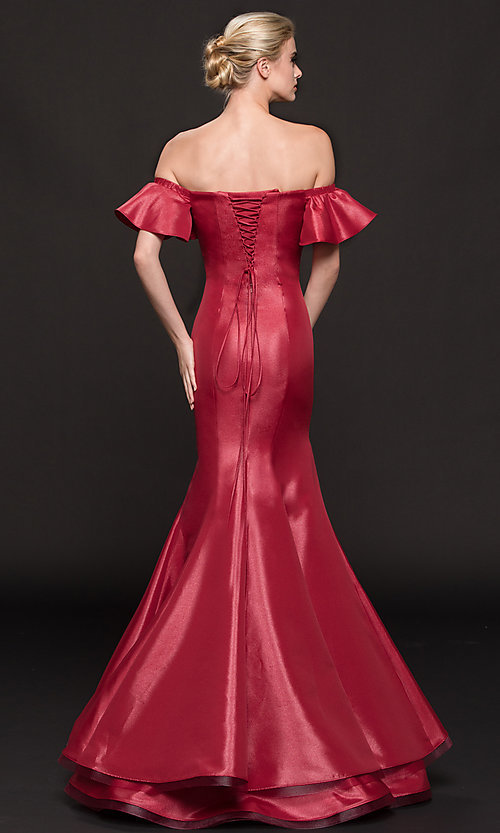 Image of off-shoulder corset long mermaid military ball dress. Style: CD-GL-G793 Back Image