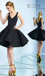 Image of v-neck short fit-and-flare party dress with v-back. Style: MAC-48478i Back Image