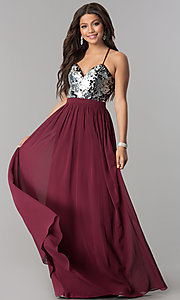 Image of long burgundy chiffon prom dress with silver sequins.  Style: LP-24741 Front Image