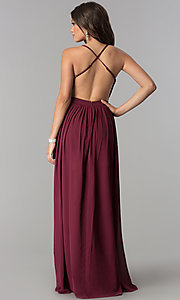 Image of long burgundy chiffon prom dress with silver sequins.  Style: LP-24741 Back Image