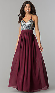 Image of long burgundy chiffon prom dress with silver sequins.  Style: LP-24741 Detail Image 2