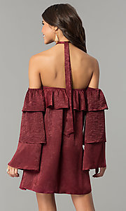 Image of short maroon red halter party dress with sleeves. Style: BLH-DD1155 Back Image