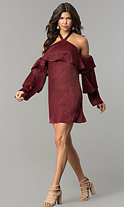 Image of short maroon red halter party dress with sleeves. Style: BLH-DD1155 Detail Image 2