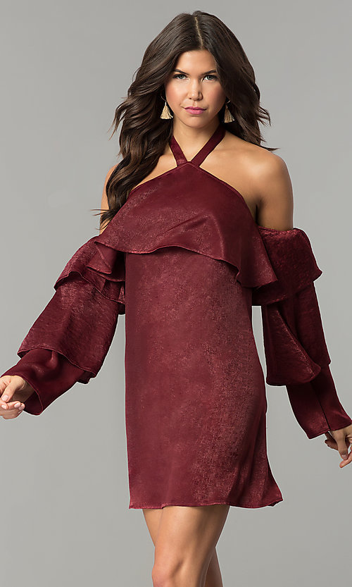 Image of short maroon red halter party dress with sleeves. Style: BLH-DD1155 Front Image