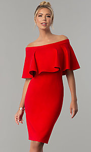 8f2a77c8257a Image of off-the-shoulder short red wedding-guest dress. Style