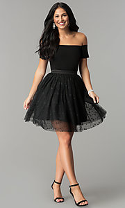 Image of black off-the-shoulder short prom dress with glitter. Style: AL-HL-111S Detail Image 2