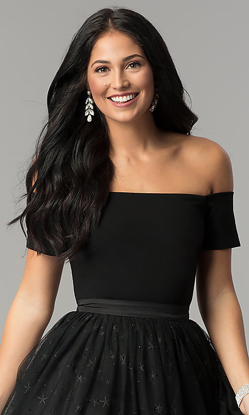 Image of black off-the-shoulder short prom dress with glitter. Style: AL-HL-111S Detail Image 1