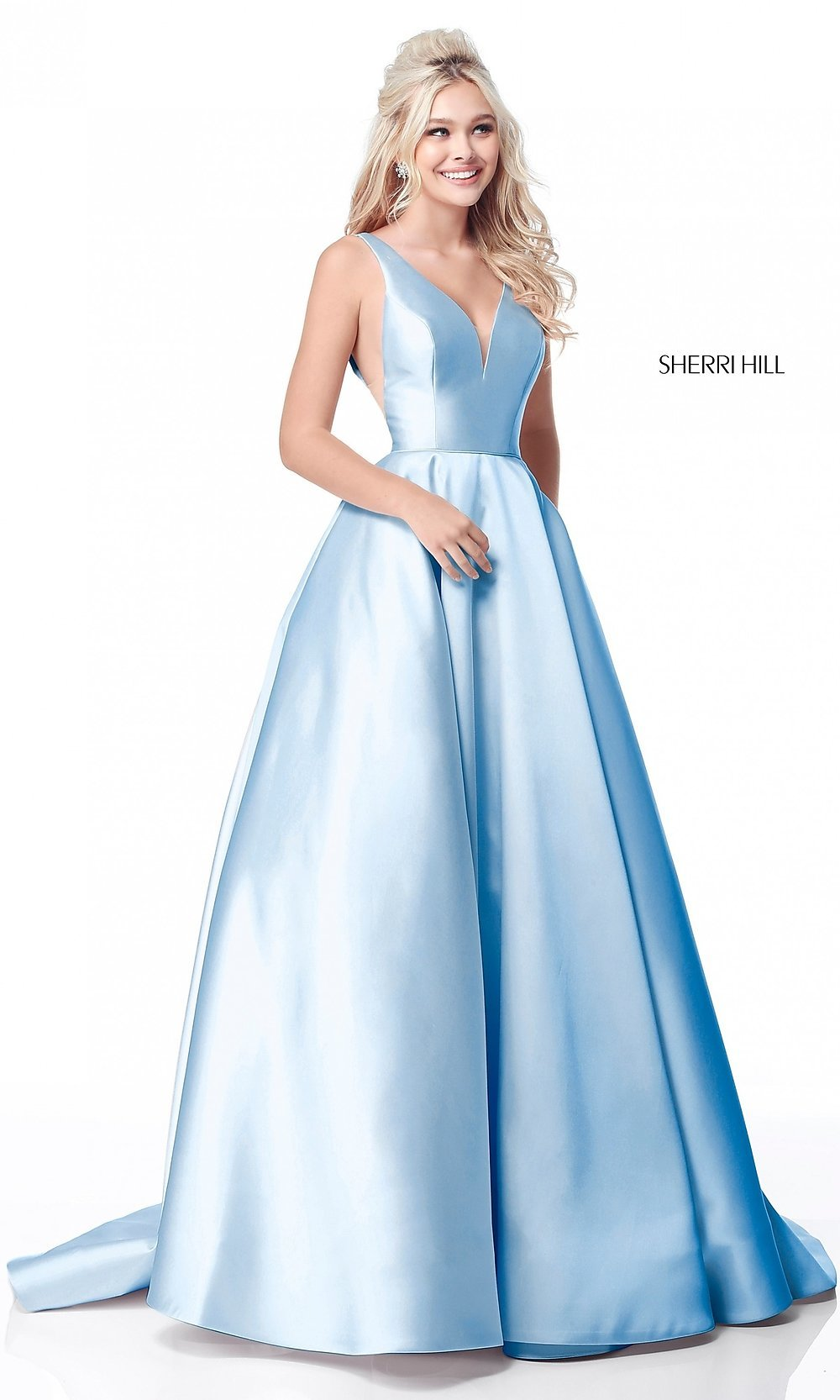 b0542183c95 Image of Sherri Hill deep-v-neck long prom dress. Style  SH. Tap to expand
