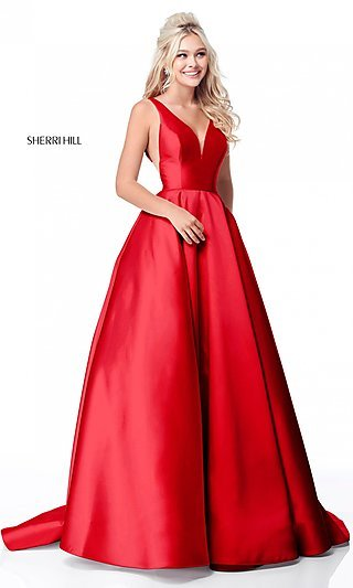 Sherri Hill Deep-V-Neck Long A-Line Prom Dress
