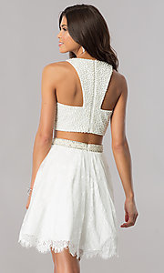 Image of two-piece short ivory white homecoming party dress. Style: FB-GS2404i Back Image