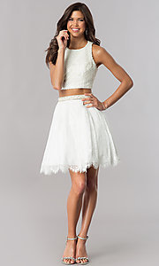 Image of two-piece short ivory white homecoming party dress. Style: FB-GS2404i Detail Image 1