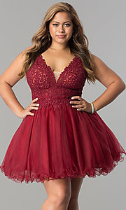 Image of plus-size short homecoming dress with lace applique. Style: DQ-2054P Detail Image 1