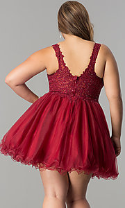 Image of plus-size short homecoming dress with lace applique. Style: DQ-2054P Back Image