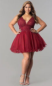 Image of plus-size short homecoming dress with lace applique. Style: DQ-2054P Detail Image 2