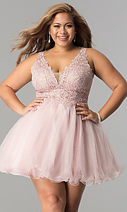 Image of plus-size short homecoming dress with lace applique. Style: DQ-2054P Front Image