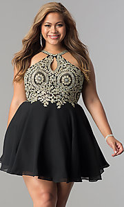 Image of short plus-size homecoming dress with beaded lace. Style: DQ-2078P Detail Image 1