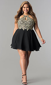 Image of short plus-size homecoming dress with beaded lace. Style: DQ-2078P Detail Image 2