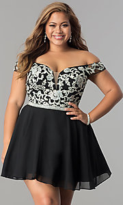 Image of off-shoulder plus-size illusion homecoming dress. Style: DQ-9983P Detail Image 2