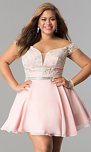 Image of off-shoulder plus-size illusion homecoming dress. Style: DQ-9983P Detail Image 3