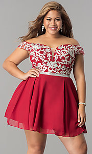 Image of off-shoulder plus-size illusion homecoming dress. Style: DQ-9983P Front Image