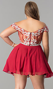 Image of off-shoulder plus-size illusion homecoming dress. Style: DQ-9983P Back Image
