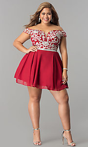 Image of off-shoulder plus-size illusion homecoming dress. Style: DQ-9983P Detail Image 1