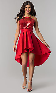 Image of high-low holiday party dress with sequin bodice. Style: DC-D45802 Front Image