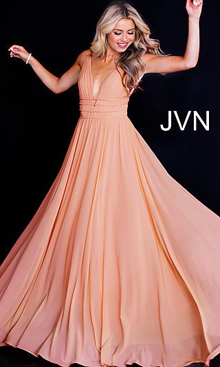 Ruched-Bodice Long Formal JVN by Jovani Prom Dress
