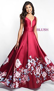 Image of floral-print-skirt a-line long prom dress by Blush. Style: BL-5661 Detail Image 2