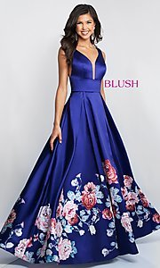 Image of floral-print-skirt a-line long prom dress by Blush. Style: BL-5661 Front Image