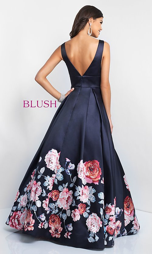 Image of floral-print-skirt a-line long prom dress by Blush. Style: BL-5661 Back Image