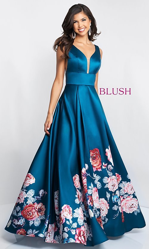 Image of floral-print-skirt a-line long prom dress by Blush. Style: BL-5661 Detail Image 1