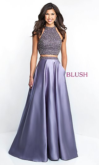 A-Line Beaded Two-Piece Prom Dress with Pockets