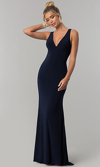 Alyce Navy Blue Sleeveless V-Neck Long Prom Dress