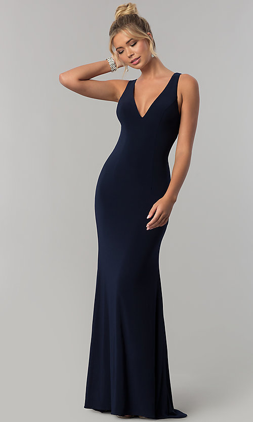 Image of Alyce navy blue sleeveless v-neck long prom dress. Style: AL-60009-B Front Image