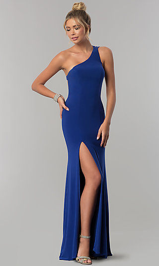 One Shoulder Blue Gown