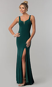 Image of long open-back v-neck prom dress with slit. Style: AL-60011 Front Image