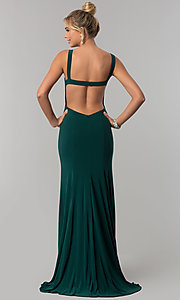 Image of long open-back v-neck prom dress with slit. Style: AL-60011 Back Image