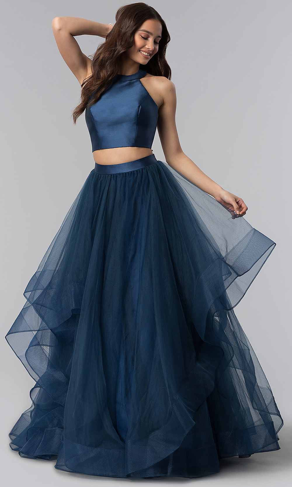 41f651d4a8cf Long Two-Piece Prom Dress with Open Back and High Neck
