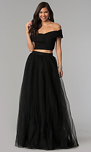 Image of off-shoulder open-back two-piece long prom dress. Style: AL-HL-111-2 Front Image