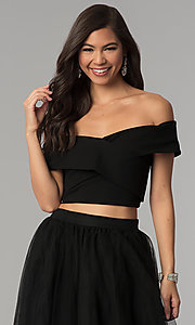 Image of off-shoulder open-back two-piece long prom dress. Style: AL-HL-111-2 Detail Image 1