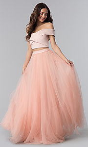 Image of off-shoulder open-back two-piece long prom dress. Style: AL-HL-111-2 Detail Image 3