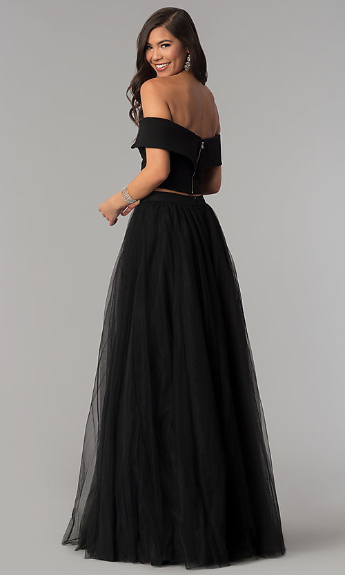 Image of off-shoulder open-back two-piece long prom dress. Style: AL-HL-111-2 Back Image