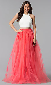 Image of long two-tone two-piece high-neck prom dress. Style: AL-HL-250 Detail Image 3